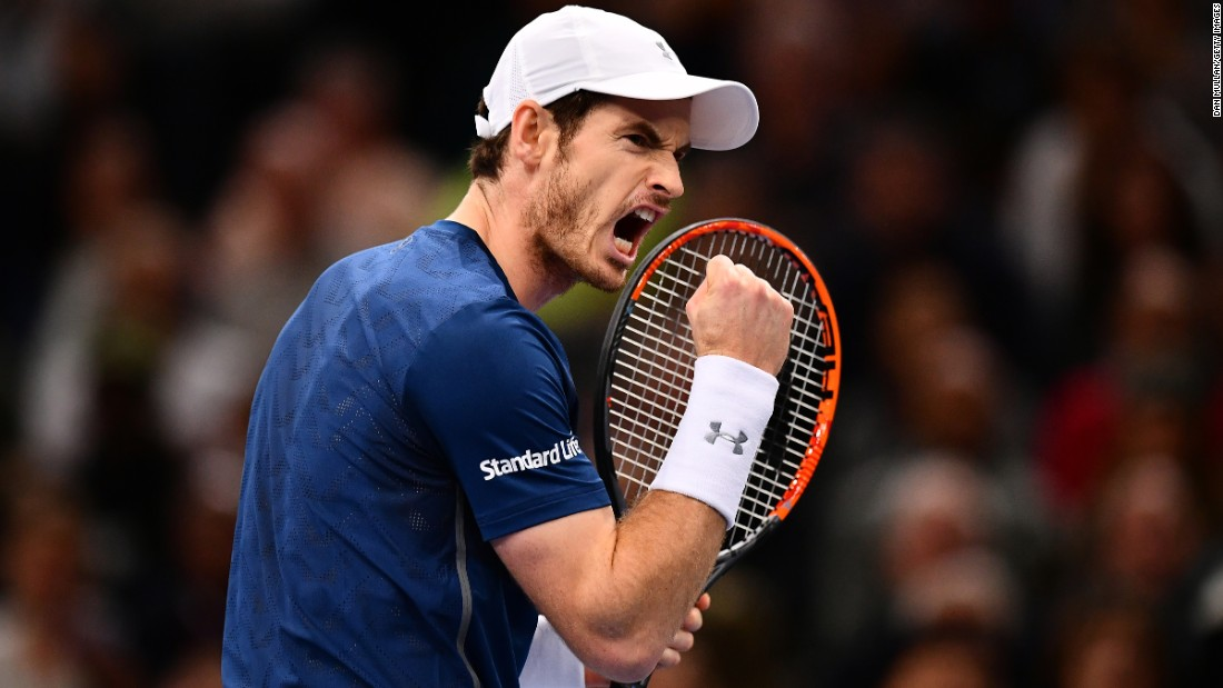 "Andy Murray reacts during the final of the Paris Masters, where he defeated John Isner on Sunday, November 6. With the victory, Murray <a href=""http://www.cnn.com/2016/11/05/tennis/tennis-murray-djokovic-number-one/"" target=""_blank"">moved to No. 1</a> in the world rankings."