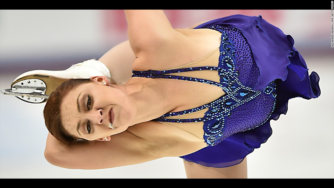 U.S. figure skater Courtney Hicks performs her free skate program during the Grand Prix event in Moscow on Saturday, November 5. She finished in third.