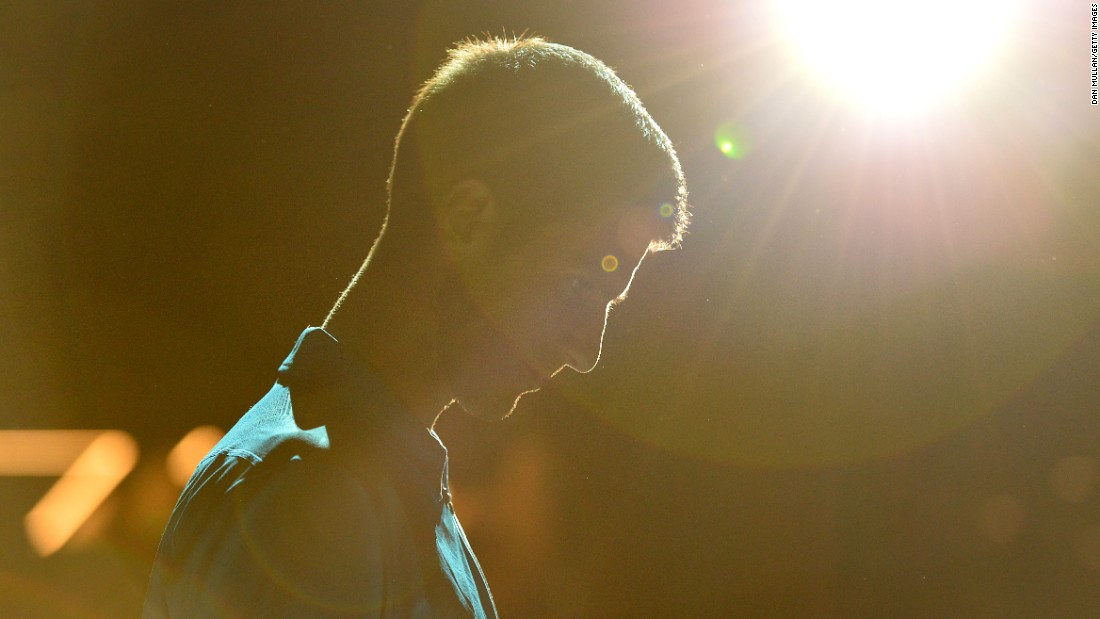 Novak Djokovic walks onto the court for his third-round match at the Paris Masters on Thursday, November 3.