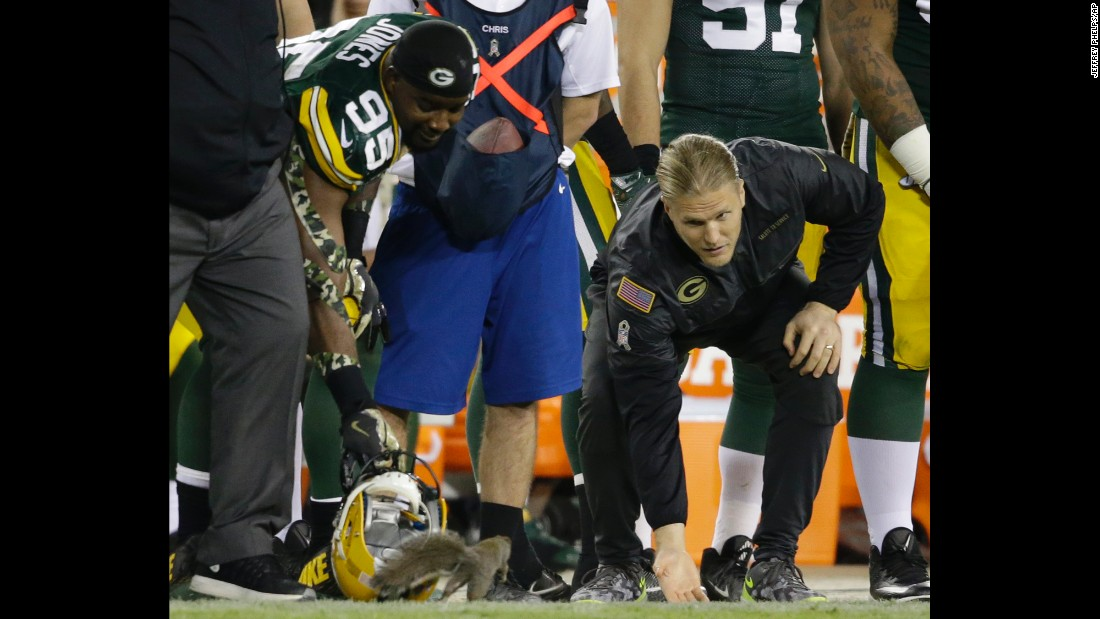 Green Bay Packers Datone Jones, left, and Clay Matthews try to catch a squirrel on the sideline during an NFL game in Green Bay, Wisconsin, on Sunday, November 6.