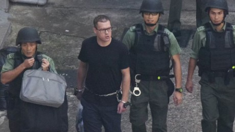 British national Rurik Jutting, pictured before boarding a high security prison van.