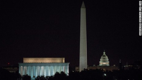 11/8/16, Arlington, Va.   The Lincoln Memorial, the Washington Memorial and the Capitol building are lit in the early morning of Election Day, Nov. 8, 2016 in Washington, D.C.   Gabriella Demczuk / CNN