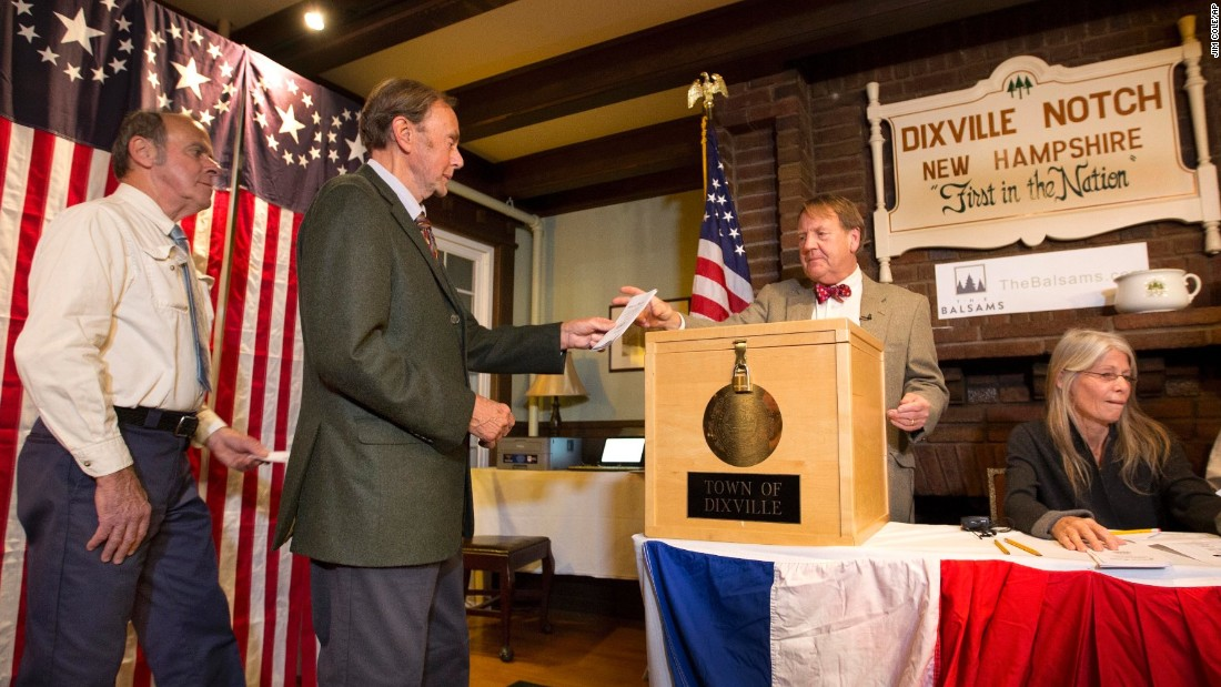 "Voters in Dixville Notch, New Hampshire, cast their ballots shortly after midnight. The small town south of the Canadian border continued its tradition of voting early, with <a href=""http://www.cnn.com/2016/11/08/politics/dixville-notch-results-2016/index.html"">Clinton winning four votes to Trump's two.</a> Libertarian candidate Gary Johnson picked up one vote, while Mitt Romney, the 2012 GOP nominee, received a surprise write-in vote."