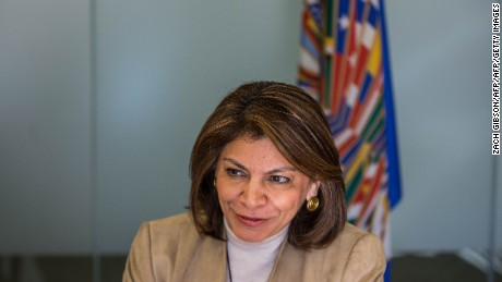 Former President of Costa Rica and head of the OAS Observers' Mission to the US, Laura Chinchilla speaks during an interview with AFP at the Organization of American States headquarters November 7, 2016  in Washington, DC. When voters go to polling places across the United States on November 8 hundreds of international observers will be watching the election of a new president and members of Congress unfold.  / AFP / ZACH GIBSON        (Photo credit should read ZACH GIBSON/AFP/Getty Images)