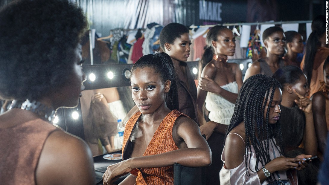 'About That Curvy Life' -- an empowerment platform dedicated to curvy women -- took to the runway at this year's Lagos Fashion & Design Week (LFDW) to showcase plus-size fashion.<br />Pictured: Models backstage at LFDW. Photo: Stefan Heunis/AFP/Getty Images.