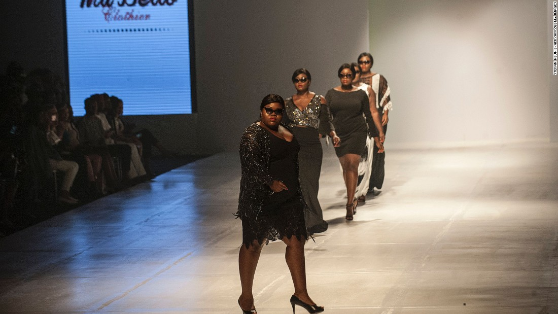 The fashion and lifestyle journalist lobbied her heart out to feature a plus-size collective at Africa's biggest fashion event of the year.<br />Pictured: Models at LFDW display clothes by designer Osa Aisien from MaBello Clothier, the first solely Nigerian brand catering for women with curves. <br />Photo: Stefan Heunis/AFP/Getty Images