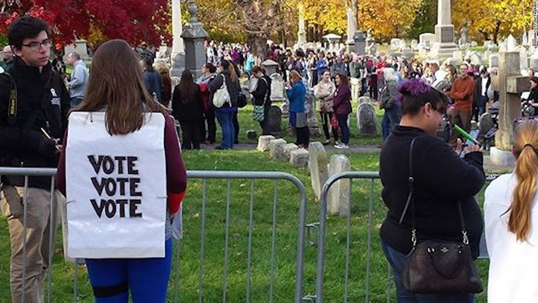 Hundreds flock to Susan B. Anthony's grave on Election Day