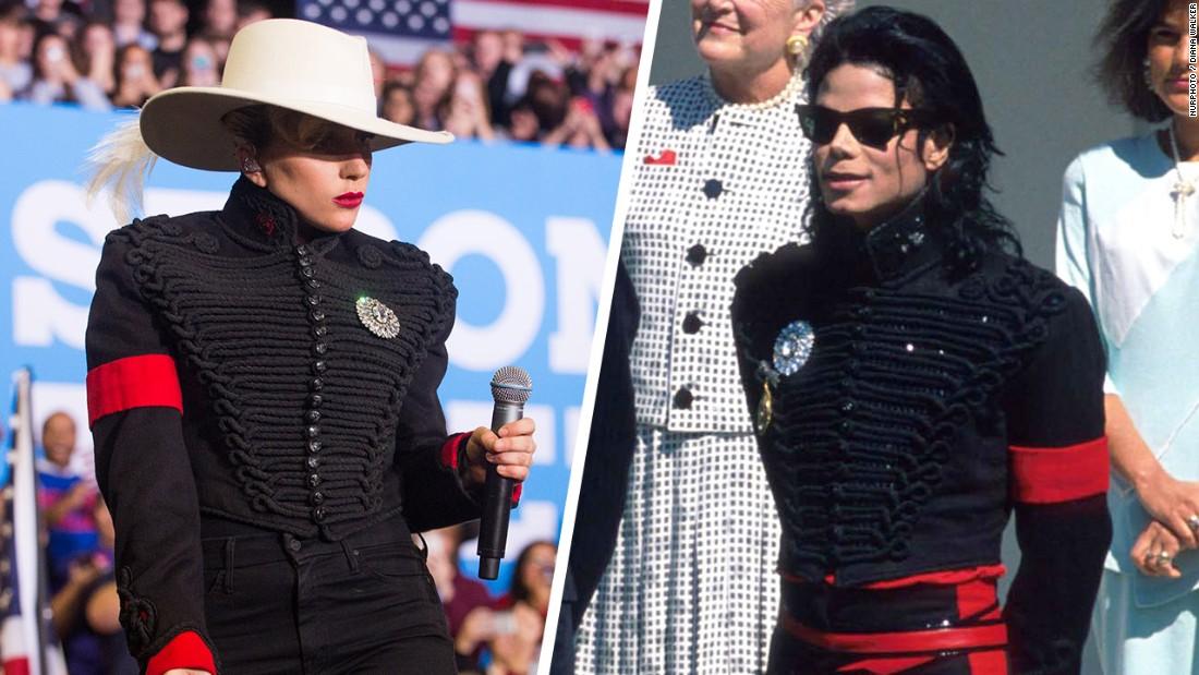 Lady gaga wears iconic jacket belonging to michael jackson at hillary