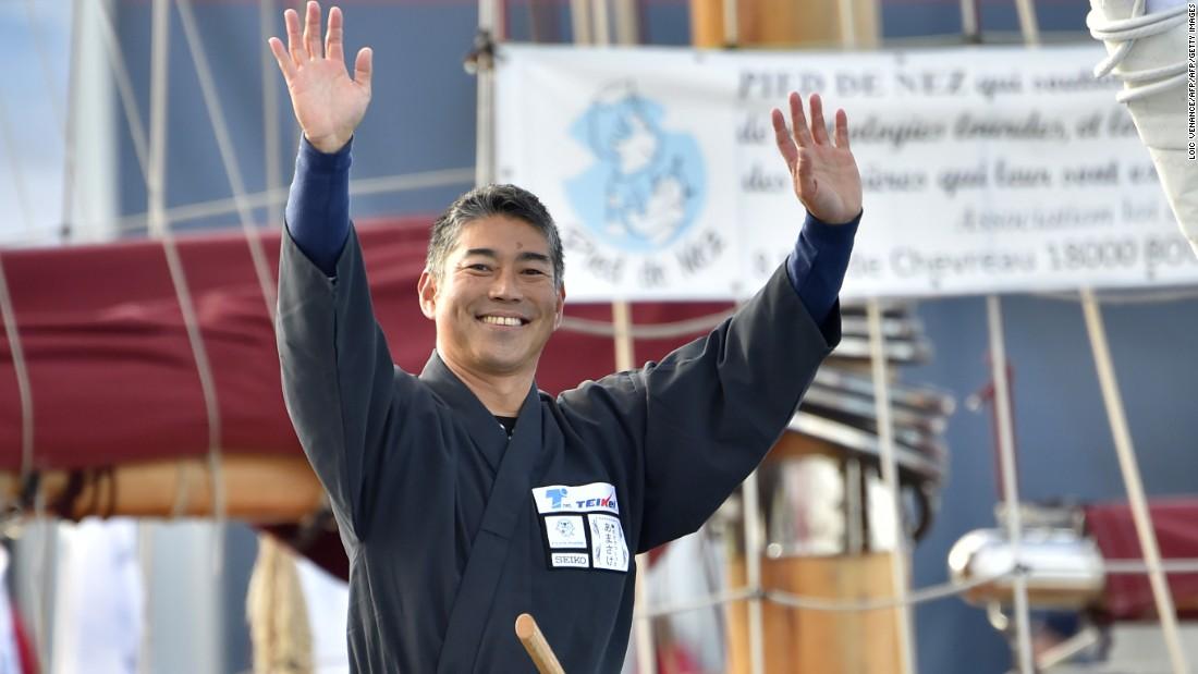 Japanese skipper Kojiro Shiraishi on his boat, Spirit of Yukoh.