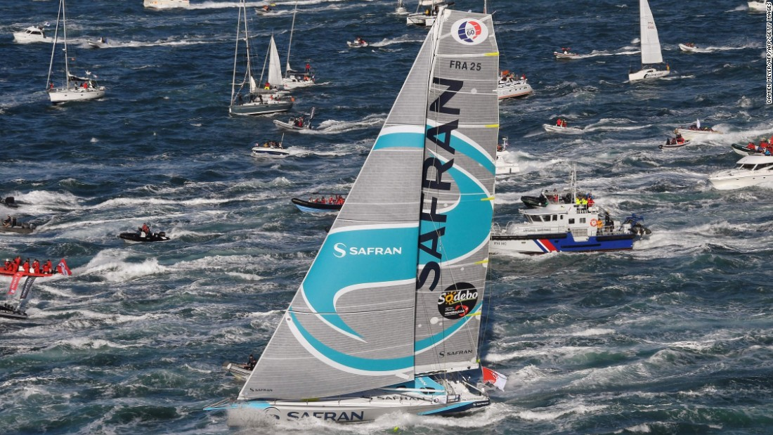 The sea whips up around Morgan Lagraviere's boat Safran. He was forced to abandon the race on November 24 due to boat damage, the third entrant to quit by that stage.