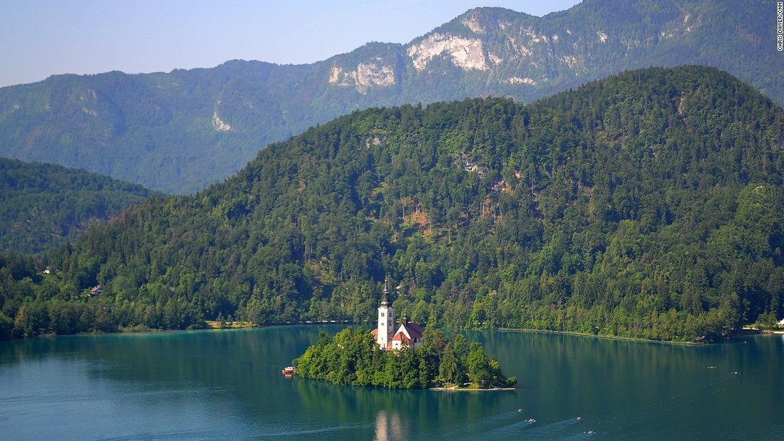 The Romanesque tower and church on the rock in the middle of the emerald-green Lake Bled is a real showstopper.