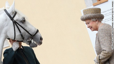 How's this for a souvenir? Queen Elizabeth was given a Lipica horse on a trip to Slovenia.