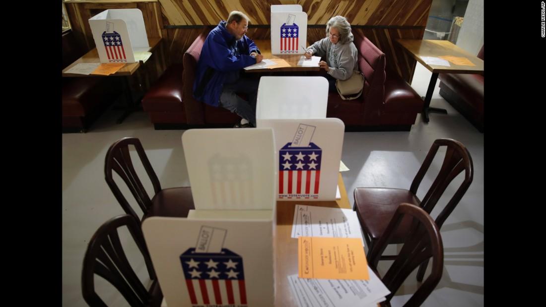John and Colleen Kramer vote at the Caplinger Mills Trading Post in Caplinger Mills, Missouri.