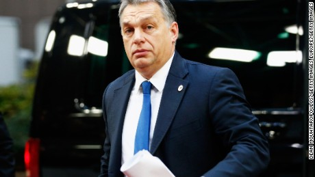 BRUSSELS, BELGIUM - DECEMBER 18:  Prime Minister of Hungary, Viktor Orban arrives for The European Council Meeting In Brussels held at the Justus Lipsius Building on December 18, 2015 in Brussels, Belgium.  European leaders are meeting to discuss David Camerons proposed EU reforms, as well as focussing on the migrant crisis, the fight against terrorism and climate change.  (Photo by Dean Mouhtaropoulos/Getty Images)