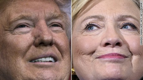 (COMBO) This combination of pictures created on November 07, 2016 shows Republican presidential nominee Donald Trump in Delaware, Ohio on October 20, 2016 and  Democratic presidential nominee Hillary Clinton in Orlando, Florida on September 21, 2016.   Clinton and Trump launched into the frenzied final day of their historic fight for the White House November 7, 2016, with blow-out rallies in the handful of swing states that will decide who leads the United States. / AFP / MANDEL NGAN AND Brendan Smialowski        (Photo credit should read MANDEL NGAN,BRENDAN SMIALOWSKI/AFP/Getty Images)