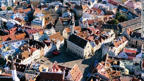 Areal photo on Tallinn's Old Town