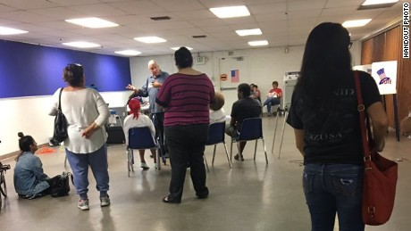 The scene inside a polling place Tuesday afternoon in Azusa, where voters said they heard gunshots.