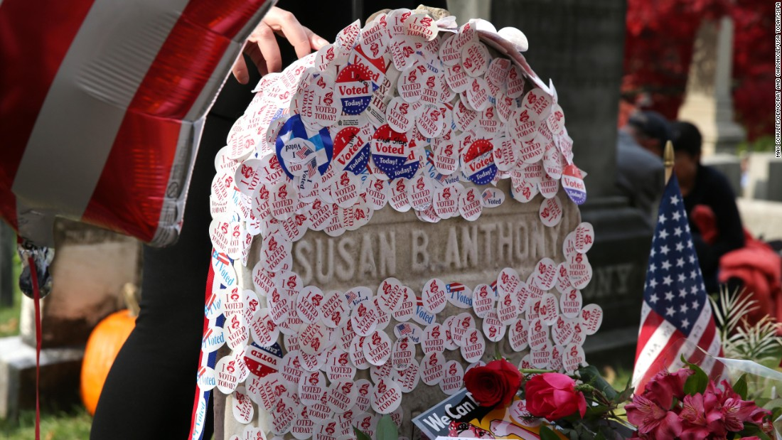 """I voted"" stickers are placed at the gravesite of Susan B. Anthony in Rochester, New York. Anthony, a social reformer who died in 1906, played a major role in the <a href=""http://www.cnn.com/2016/08/18/politics/gallery/tbt-womens-suffrage/index.html"" target=""_blank"">women's suffrage</a> movement."