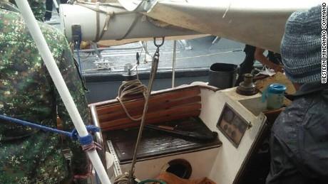 Investigators on board the yacht Rockall.