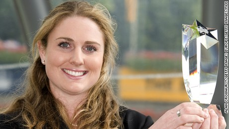 ASCOT, ENGLAND - JULY 24:  Hayley Moore holds a trophy after becoming the first female on course race commentator at racecourses around the UK, at Ascot racecourse on July 24, 2011 in Ascot, England. (Photo by Alan Crowhurst/Getty Images)