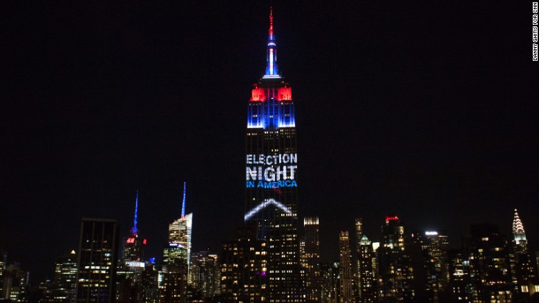 Empire State Building lights up on election night