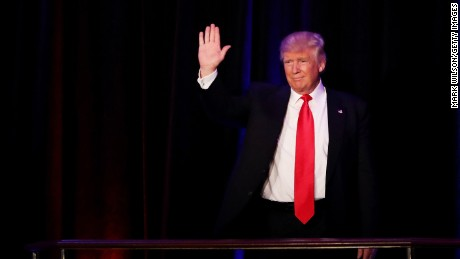 Republican president-elect Donald Trump acknowledges the crowd during his election night event at the New York Hilton Midtown in the early morning hours of November 9, 2016 in New York City. Donald Trump defeated Democratic presidential nominee Hillary Clinton to become the 45th president of the United States.  (Photo by Mark Wilson/Getty Images)