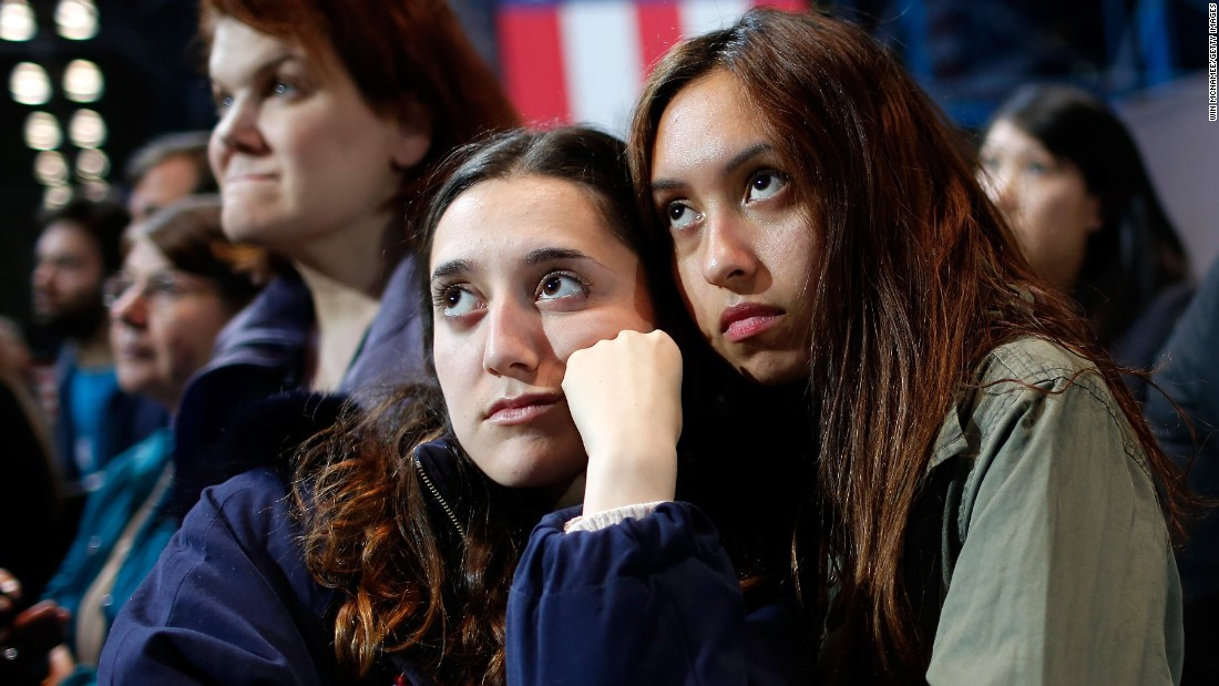 Clinton supporters watch the voting results at the Javits Center.