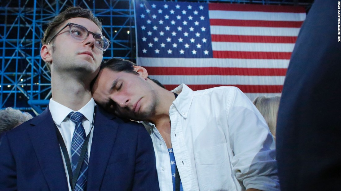 Clinton supporters react to election results at the Javits Center.