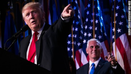"""President-elect Donald Trump delivers his acceptance speech at his election night event in New York City on Wednesday, November 9. """"Every single American will have the opportunity to realize his or her fullest potential,"""" the Republican said in his victory speech. """"The forgotten men and women of our country will be forgotten no longer."""""""
