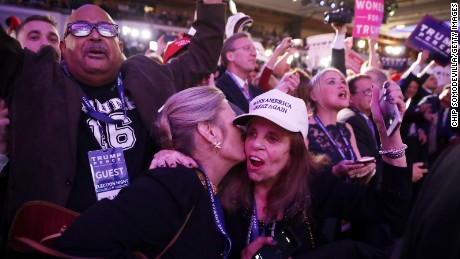 NEW YORK, NY - NOVEMBER 09:  People celebrate during the call for Republican president-elect Donald Trump at his election night event at the New York Hilton Midtown on November 9, 2016 in New York City. at the New York Hilton Midtown in the early morning hours of November 9, 2016 in New York City. Donald Trump defeated Democratic presidential nominee Hillary Clinton to become the 45th president of the United States.  (Photo by Chip Somodevilla/Getty Images)