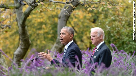 President Barack Obama (L) adresses ,for the first time publicly the shock election of Donald Trump as his successor, together with Vice President Joe Biden on November 9, 2016 at the White House in Washnigton, D.C. Throughout the two-year-long election campaign, Obama has repeated a mantra that he will do all he can to ensure the peaceful transition of power.