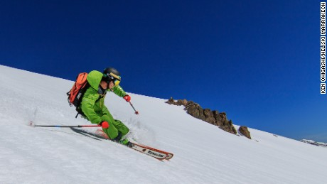 A skier deep in the backcountry with Heliski Marrakech.
