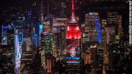 CNN, Instagram and CA Technologies project Donald Trump's victory onto the Empire State Building in the early hours of November 9.