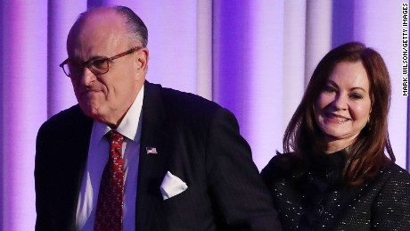 Former New York City Mayor Rudy Giuliani and his wife Judith Giuliani during Republican president-elect Donald Trump election night event at the New York Hilton Midtown in the early morning hours of November 9, 2016 in New York City.