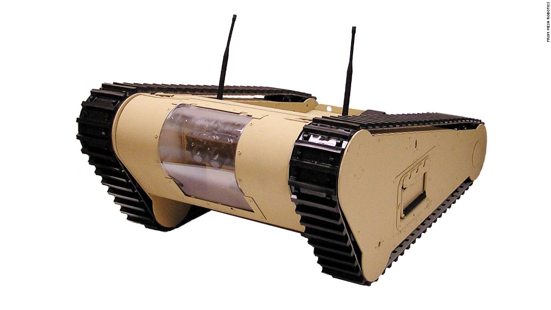 """This device designed by <a href=""""http://www.mesa-robotics.com/matilda.html"""" target=""""_blank"""">MESA Robotics</a> is another option for members of law enforcement who need a machine that can handle surveillance as well as taking care of potentially dangerous objects."""