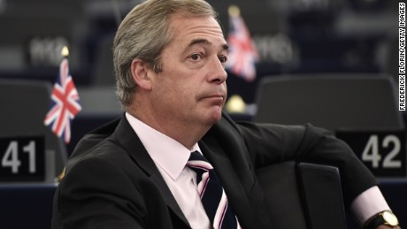 Former leader of the UK Independence Party (UKIP) Nigel Farage at a European Council meeting on October 20-21.