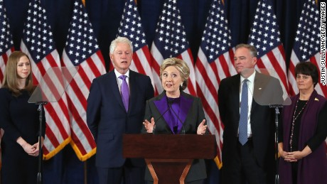NEW YORK, NY - NOVEMBER 09:  Former Secretary of State Hillary Clinton concedes the presidential election as (L-R) Chelsea Clinton, Bill Clinton, Tim Kaine and Anne Holton listen at the New Yorker Hotel on November 9, 2016 in New York City. Republican candidate Donald Trump won the 2016 presidential election in the early hours of the morning in a widely unforeseen upset.  (Photo by Justin Sullivan/Getty Images)