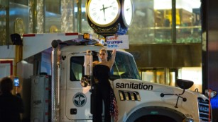 Lady Gaga protests against President-elect Donald Trump outside Trump Tower in New York.