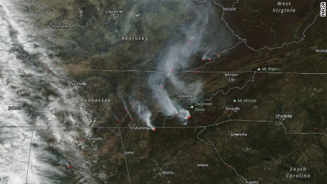 NASA's Aqua satellite took this image of a number of wildfires raging in North Carolina, Georgia, Tennessee and Virginia.