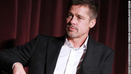 "Actor Brad Pitt during a Q&A at a LA Fan event for the Paramount Pictures title ""Allied"" at Regency Village Theatre on November 9, 2016 in Westwood, California."