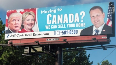 A South Carolina realtor's sign offers help to those who want to move to Canada because of the election results.