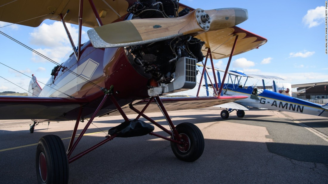 The planes include a range of classic designs including the 'tiger moth' pictured, and the 'gypsy moth' used in the Robert Redford movie 'Out of Africa.'