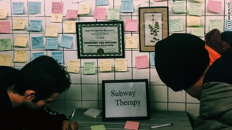 People are leaving love notes to America on the New York subway