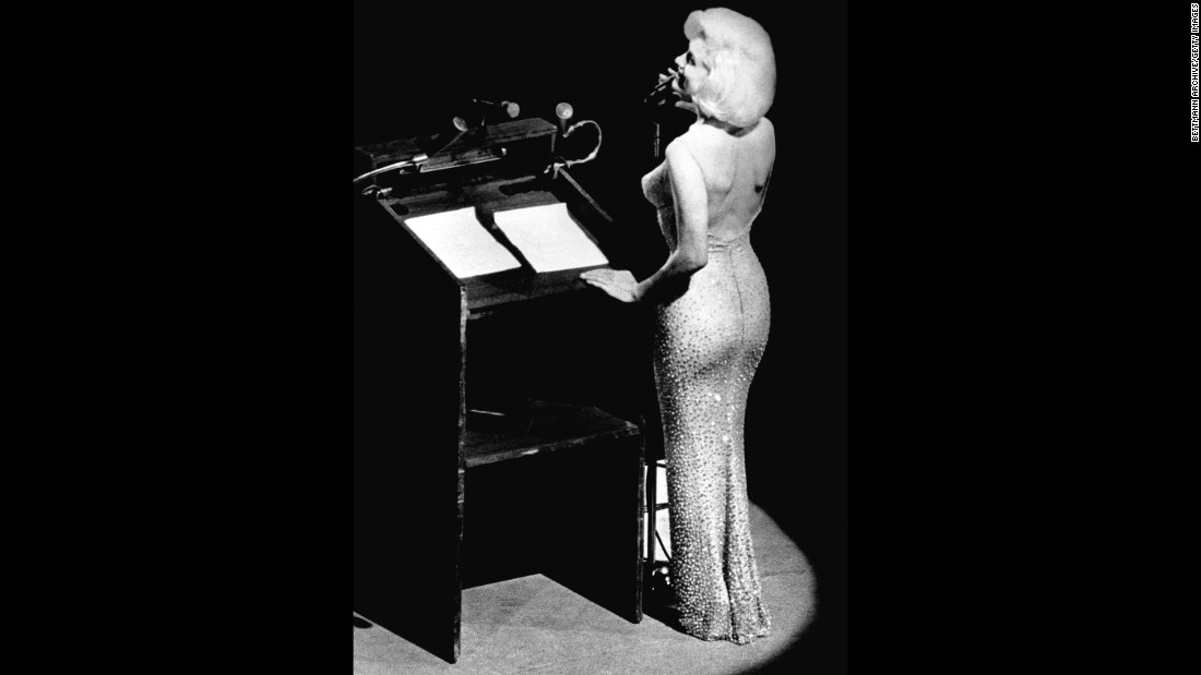 "On Nov. 17, The beige rhinestone-encrusted dress Marilyn Monroe wore to sing ""Happy Birthday"" to President John F. Kennedy sold for $4.8 million."