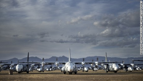 Lockheed C-130 Hercules cargo planes are seen stored in the Boneyard.