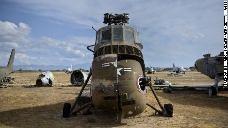 An Army H-34C helicopter once used to transport former US President Dwight D. Eisenhower is seen at the Boneyard.