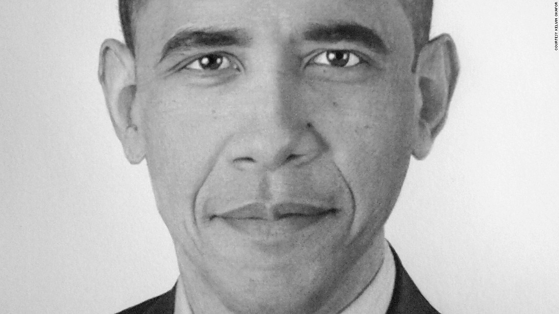 The artist's works start life as simple pencil outlines, drawn using charcoal and graphite. Shadings are used to give the illusion of color and add depth to achieve a photo-like quality.<br /> Pictured here, Barack Obama.