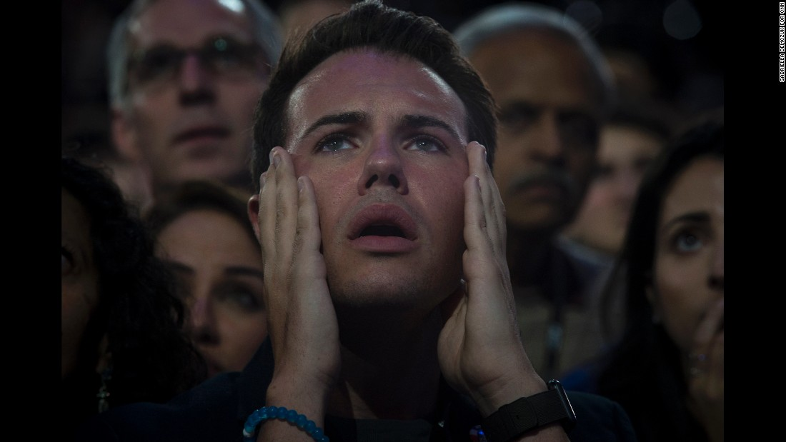 "A man reacts as he watches voting results at the Javits Center in New York on Tuesday, November 8. Supporters of Hillary Clinton had their hopes shattered after Republican nominee <a href=""http://www.cnn.com/2016/11/08/politics/election-day-2016-highlights/index.html"" target=""_blank"">Donald Trump was elected the 45th president of the United States</a>."