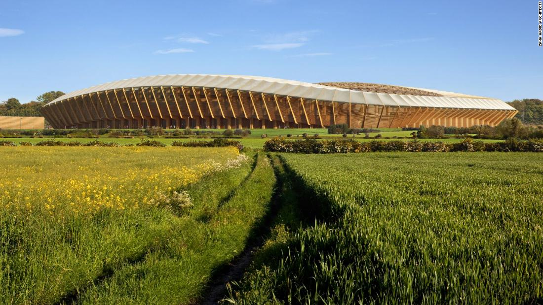 The proposed stadium, made almost entirely out of timber, has been designed by Zaha Hadid Architects -- the firm behind the London Aquatics Centre, which was built for the 2102 Olympics. Located just outside the town of Stroud in western England, Forest Green's new home intends to complement the surrounding meadow landscape, as this computer-generated image depicts.