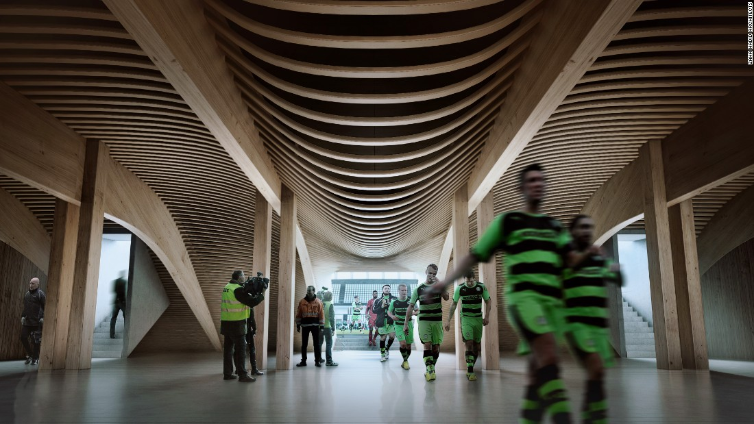 "Wood is not only naturally occurring, but offers a durable and sustainable alternative to concrete or steel. Forest Green chairman Dale Vince says the new ground will be ""the greenest football stadium in the world."""